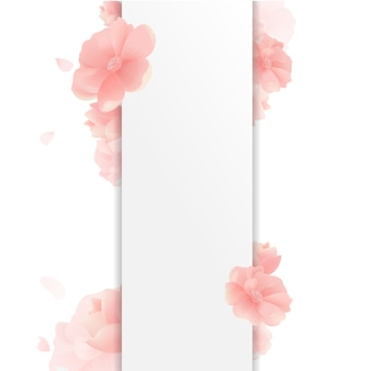 花と白い背景との国境