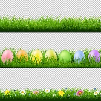 緑の芝生の罫線コレクション透明な背景