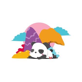 カラフルな背景を持つ眠っているパンダ