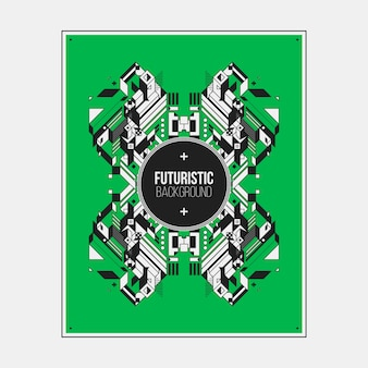 Плакат / шаблон дизайна печати с симметричным абстрактным элементом на цветном фоне.