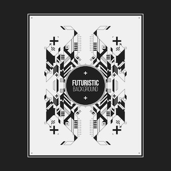 白い背景に対称抽象要素を持つポスター/プリントデザインテンプレート。本や雑誌のカバーに便利です。