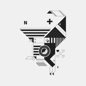 白い背景上の抽象的なモノクロクリーチャー。キュビズムと構成主義のスタイル。プリントやポスターに便利です。