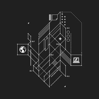 黒背景にドラフトスタイルの抽象的なデザイン要素。テクノプリントやポスターに便利です。