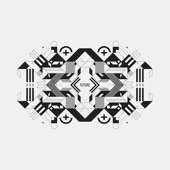 白い背景に未来的な対称的なデザイン要素。プリントやポスターに便利です。