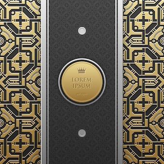 Вертикальный шаблон баннера на золотой металлический фон с бесшовной геометрической картины. элегантный стиль роскоши.
