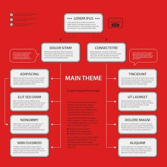 Корпоративный шаблон дизайна на красном фоне. черно-белые цвета. полезно для рекламы, презентаций и веб-дизайна.