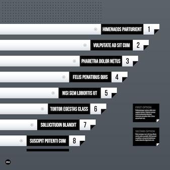 グレーの背景に未来の企業チャートテンプレート。プレゼンテーションやマーケティングメディアに役立ちます。