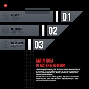 黒の背景に未来の企業のチャートテンプレート。プレゼンテーションやマーケティングメディアに役立ちます。