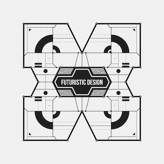 抽象的な未来的なデザイン要素のテンプレート。サイエンスポスターやハイテクメディアに役立ちます。白い背景に隔離されています。