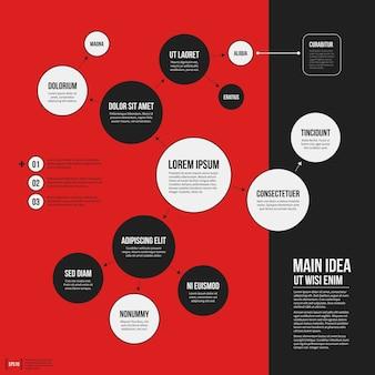 幾何学要素が鮮やかな赤い背景にある組織図テンプレート。科学やビジネスプレゼンテーションに役立ちます。
