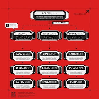 Шаблон организационной диаграммы с геометрическими элементами на ярко-красном фоне. полезно для научных и бизнес-презентаций.