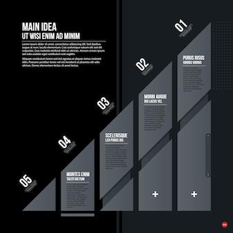 黒の背景に未来の企業のチャートテンプレート