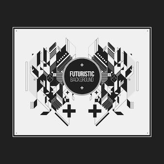 Плакат / дизайн шаблона печати с симметричным абстрактным элементом на белом фоне