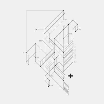 白い背景にドラフトスタイルの抽象的なデザイン要素。テクノプリントやポスターに便利です。