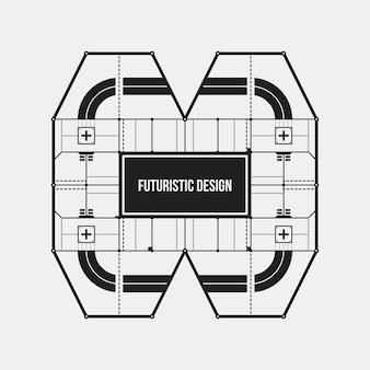 抽象的な未来的なデザイン要素テンプレート。サイエンスポスターやハイテクメディアに役立ちます。白い背景に隔離されています。