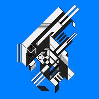 青い背景に抽象的な幾何学要素。未来主義と構成主義のスタイル。