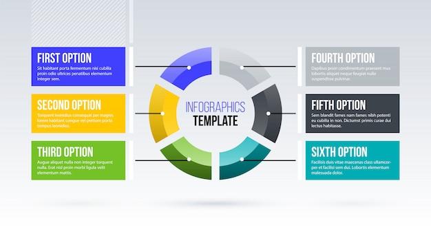 Горизонтальный шаблон инфографики пирога с шестью сегментами