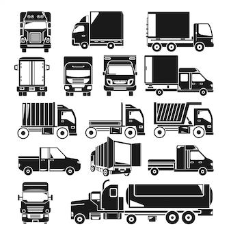 トレーラートラックとワゴンシルエットセット