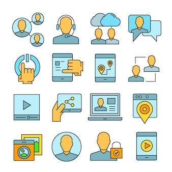 ソーシャルメディアとネットワークのアイコン