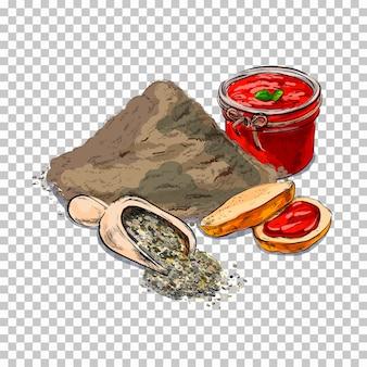 Мука и выпечка. кусок торта, печенье на прозрачном. связанные иллюстрации в ярком мультяшном стиле