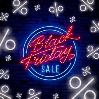 ブラックフライデーセールネオンサインベクトル。ブラックフライデーセールデザインネオンサイン、光のバナー