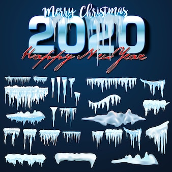 Векторная коллекция снежных шапок, куча, сосульки, изолированные, прозрачный, лед, снежный ком и сугроб.