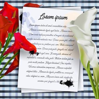 白いマグノリアの花の枝で飾られたボーダーとの白書カード