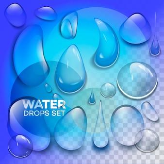 Капли дождя или паровой душ, изолированных на прозрачном фоне.