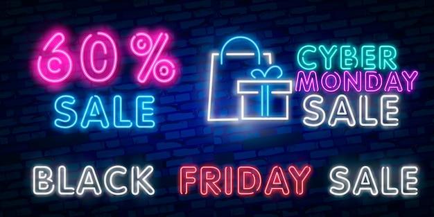 Черная пятница продажа неоновая вывеска