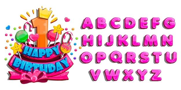 子供お誕生日おめでとうグリーティングカード。カラフルな文字のベクトルを設定
