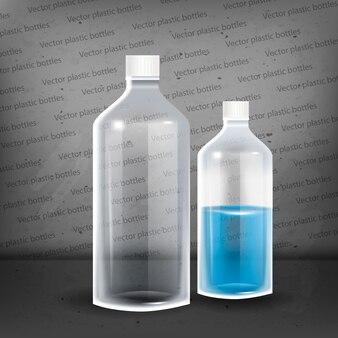ミネラルウォーター入りペットボトル。写真のリアルなボトルベクトルイラスト。