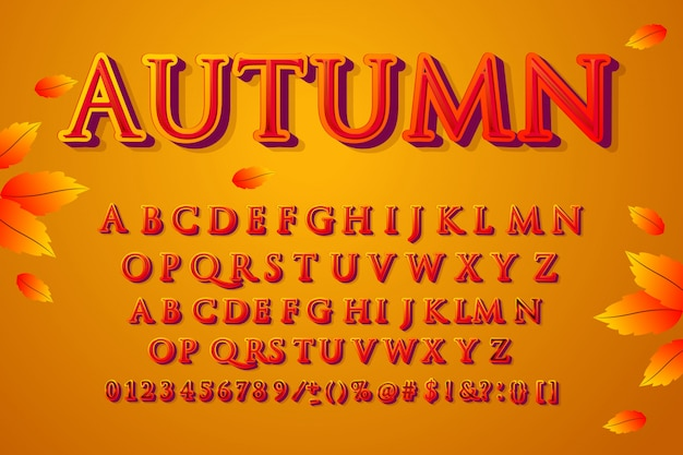 Осенний шрифт. алфавит, набор символов, шрифт, типография, буквы и цифры.