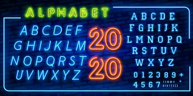 明るいネオンのアルファベット文字