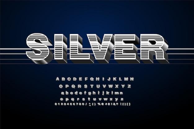 Хромированный алфавит шрифт. металлический эффект курсивом буквы и цифры.