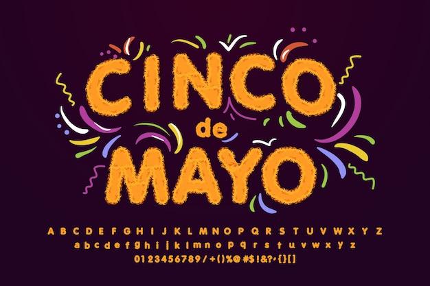 Синко де майо пушистый шрифт, яркий знак, легкий баннер.