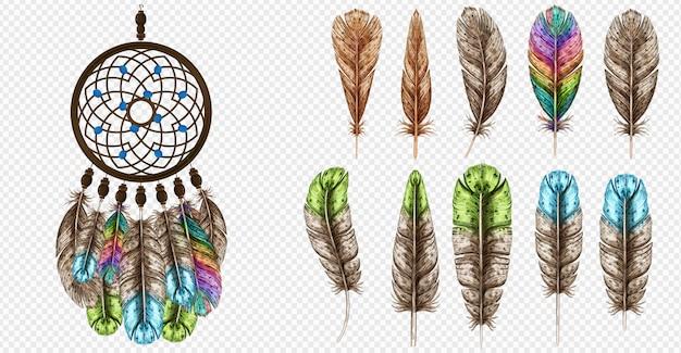Ловец снов векторные иллюстрации. богемный богемный ловец снов. перья разноцветного цвета.