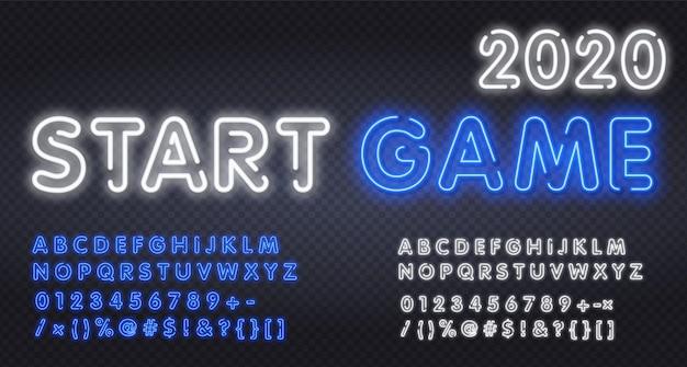 スポーツ、ゲームアルファベットフォント。ゲーム、テクノロジー、デジタル、映画のロゴ用のシャドウネオン効果フォントを備えたモダンなタイポグラフィ。