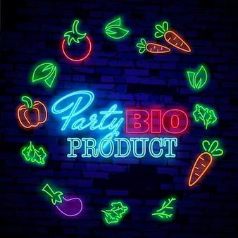 ネオンのシンボル、明るい発光サイン、ベジタリアン料理をテーマにしたネオンナイト広告