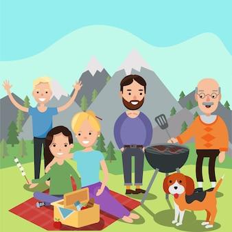 ピクニックに幸せな家族。お父さん、お母さん、息子と娘、息子、祖父母は自然の山々で休んでいます。バーベキューグリル。フラットスタイルのイラスト