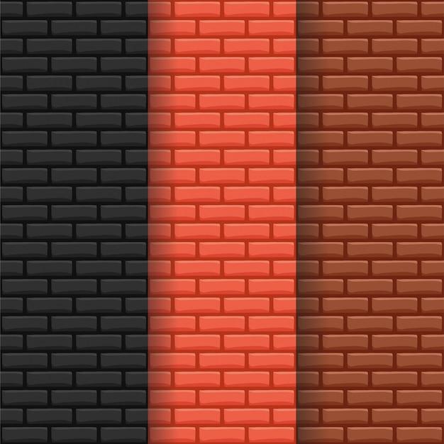 ブリックウォールパターン背景セット