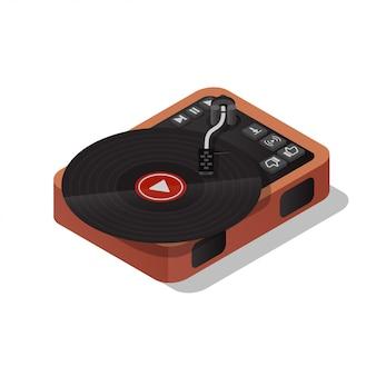ビンテージレコードプレーヤー。ビニールレコードプレーヤー。オンライン音楽を聴きます。フラットベクトルアイソメ図