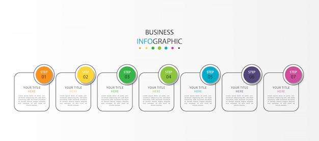 Современная инфографика с семью ступенями или вариантами