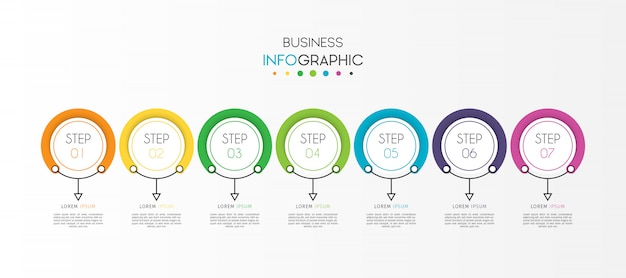 オプションまたは手順を持つサークルビジネスタイムラインインフォグラフィック要素