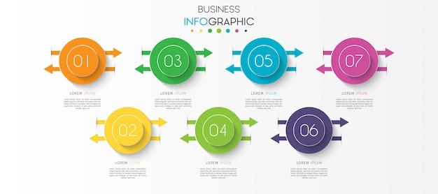 ステップまたはオプションのタイムラインチャートインフォグラフィック要素