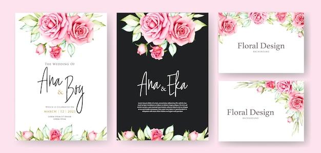 美しい花のウェディングカードのテンプレート