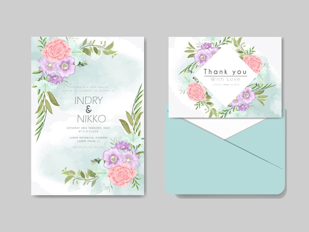 美しくエレガントな花柄の結婚式の招待状のテンプレート
