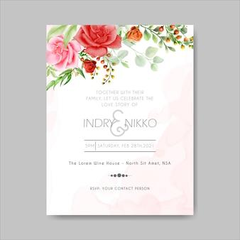 赤い栗色とピンクの水彩バラの結婚式の招待状のテンプレート