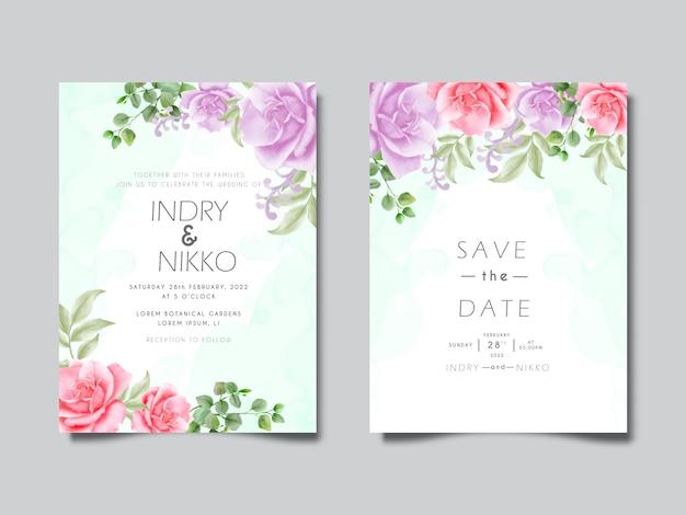 愛らしい花と葉の水彩画の結婚式の招待カード