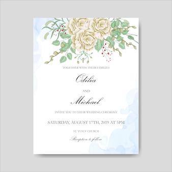 花葉テンプレートと美しい結婚式の招待カード