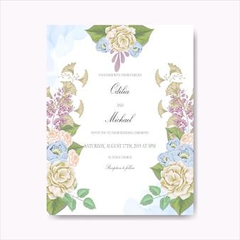 美しい花の結婚式のカード